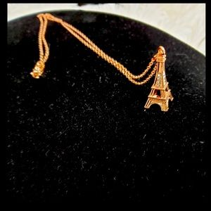 Rose Gold and Pave Crystal Eiffel Tower Necklace